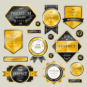 Premium quality sparkling golden labels collection over grey