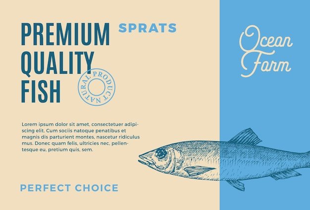 Premium quality sprats abstract vector food packaging design or label modern typography and hand dra...