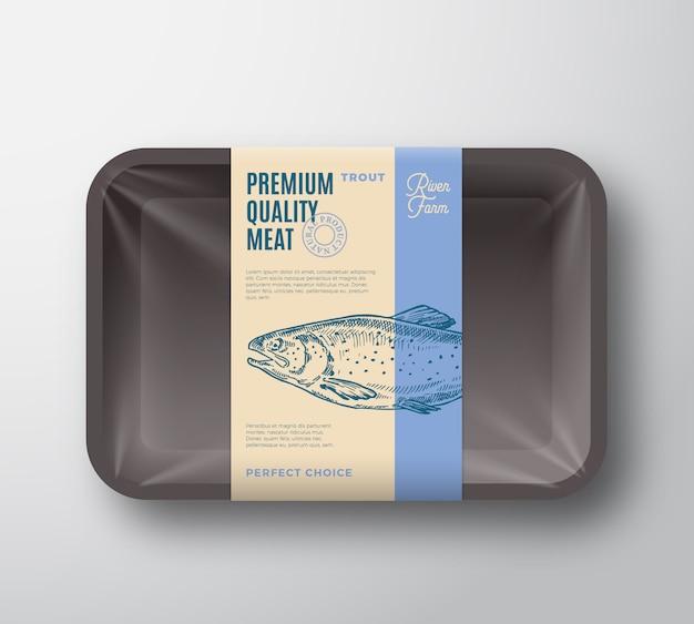 Премиальный качественный пакет форели. абстрактные векторные рыбы пластиковый лоток контейнер с целлофановым покрытием.