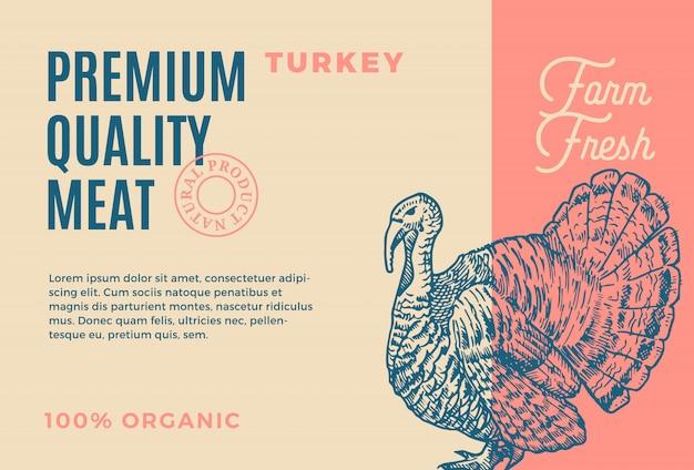 プレミアム品質のトルコ。抽象的な肉のパッケージまたはラベル。現代のタイポグラフィと手描きトルコスケッチシルエット背景レイアウト
