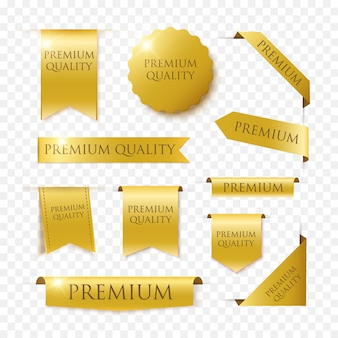 Premium quality vector badges and tags isolated on black background. gold luxury banners.