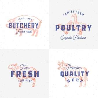 Premium quality vintage meat and poultry labels. retro print effect emblems. abstract sign, symbol or logo template set. hand drawn cow, pig, lamb, goose and chicken sillhouettes. isolated.