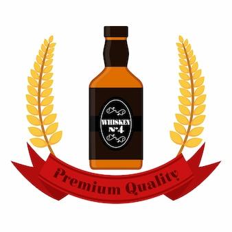 Premium quality whiskey with wheat wreath. whiskey bottle