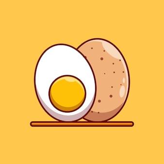 Премиум реалистичное вареное куриное яйцо векторная иллюстрация концепции дизайна