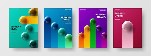 Premium realistic spheres company identity concept composition