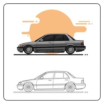 Premium retro car easy editable