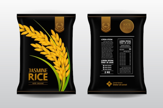 Premium rice product package.