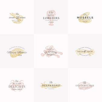 Premium seafood abstract  signs, symbols or logo templates set.