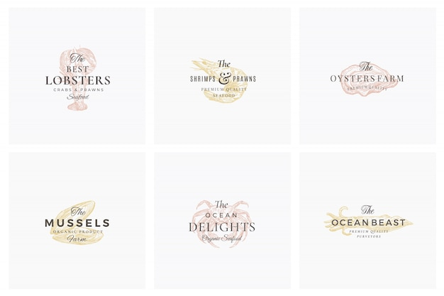 プレミアムシーフード抽象的な標識、記号またはロゴのテンプレートセット。エレガントな手描きのエビ、ムール貝、オイスター、カニ、イカのスケッチと上品なレトロなタイポグラフィ。ヴィンテージ高級エンブレム。