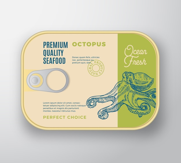 Premium seafood aluminium container with label cover.