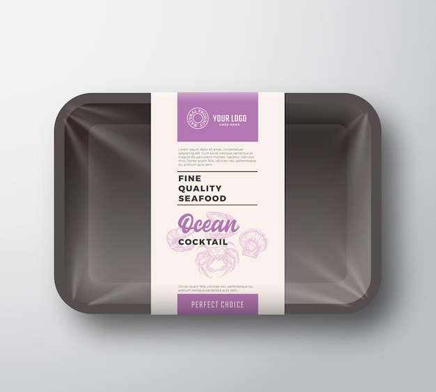 Премиум морепродукты коктейль пакет абстрактные векторные пластиковый лоток контейнер