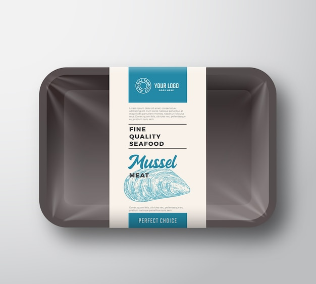 Premium seafood pack abstract plastic tray container with cellophane cover packaging design label.