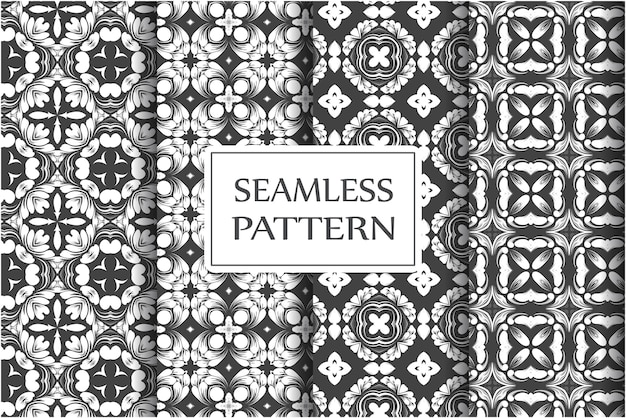 Premium seamless pattern collection for wallpapers textile wrapping exquisite floral baroque template