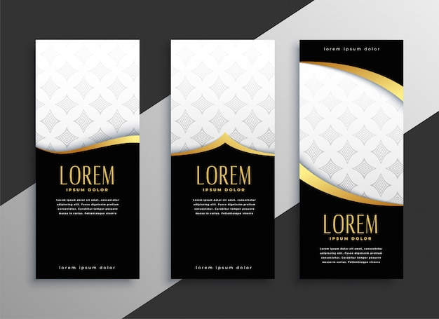 Premium set of golden vertical banners