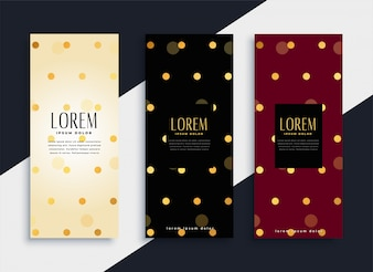 Premium set of polka dots pattern banners