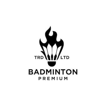 Premium shuttlecock on fire logo design