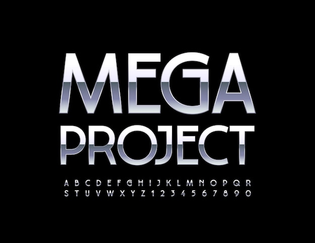 프리미엄 사인 메가 프로젝트 샤이니 실버 글꼴 우아한 메탈릭 알파벳 문자와 숫자 세트