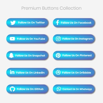 Premium social media and other platform follow us and contact us buttons
