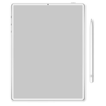 트렌디 한 얇은 프레임 디자인의 프리미엄 태블릿. 삽화.