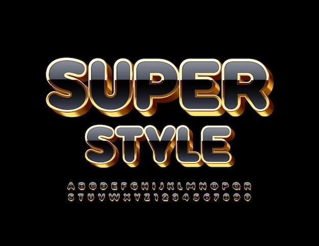 프리미엄 템플릿 슈퍼 스타일. 반짝이는 검정색과 금색 글꼴. 3d 럭셔리 알파벳 문자와 숫자 세트