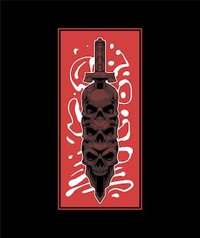 Премиум векторная иллюстрация черепа, пронзенного мечом, в современном мультяшном стиле, идеально подходит для футболок или печатной продукции