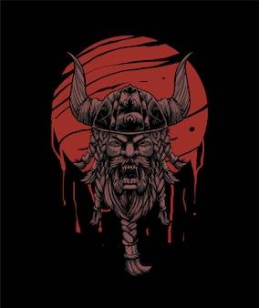 Премиум векторная иллюстрация воина викинга, в современном мультяшном стиле, идеально подходит для футболок или принтов Premium векторы
