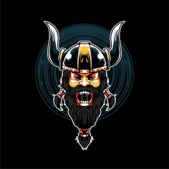 Premium vector viking warrior illustration, in a modern cartoon style, perfect for t-shirts or print products