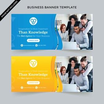 Креативный бизнес веб-баннер шаблон premium vector
