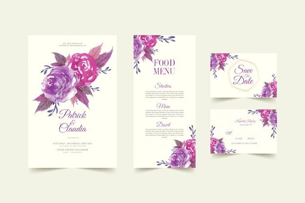 Набор цветочного шаблона свадебного приглашения с розовым цветком и листьями premium vector