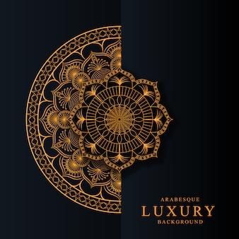 Роскошная мандала с золотым узором арабески арабский исламский стиль premium vector