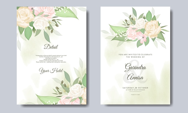 Элегантная свадебная открытка с красивыми цветочными и листьями шаблона premium vector