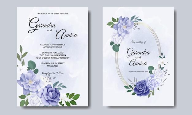Элегантный свадебный пригласительный билет с красивым синим цветочным и листьями шаблон premium vector