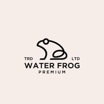 Премиум водяная лягушка черная линия векторный логотип