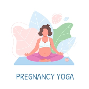 Prenatal meditation flat color faceless character. mother in sportswear. pregnancy yoga phrase. training for pregnant woman isolated cartoon illustration for web graphic design and animation