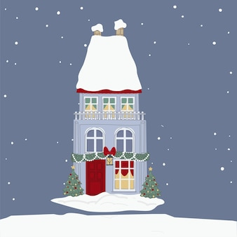 Preparation for christmas and new year celebration, xmas wreath, pine tree branches and lights. building roof covered with snow. snowing weather on holidays eve. home exterior, vector in flat style