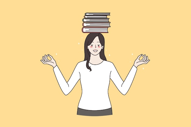 Preparation for exam and education concept. young smiling woman standing with crossed fingers holding stack of books on head vector illustration