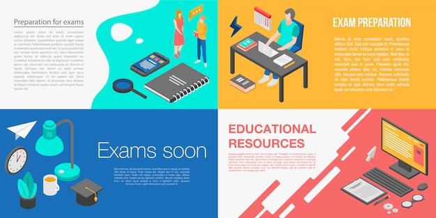 Preparation for exams banner set, isometric style