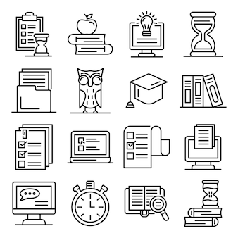 Preparation for exams icons set, outline style