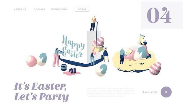 행복 한 부활절 전통 종교 봄 휴가 개념 방문 페이지 준비. 귀여운 사람들 캐릭터가 함께 장식 달걀 웹 사이트 또는 웹 페이지를 장식합니다. 플랫 만화 벡터 일러스트 레이션