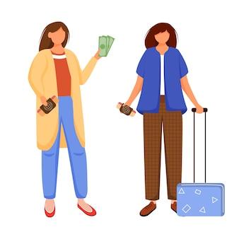 休暇、休日、旅行のフラットな輪郭の準備。友達との航海。予算の観光。安い旅行のアイデアは、白い背景の上の漫画のアウトライン文字を分離しました