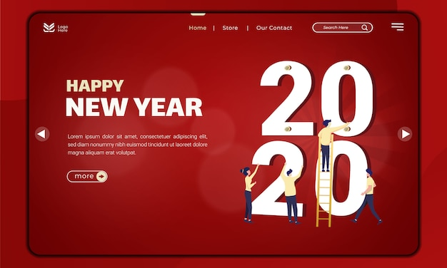 Preparations for the new year 2020 on landing page template