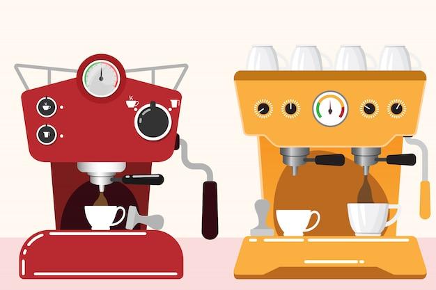 Prepare coffee machine for make coffee illustration
