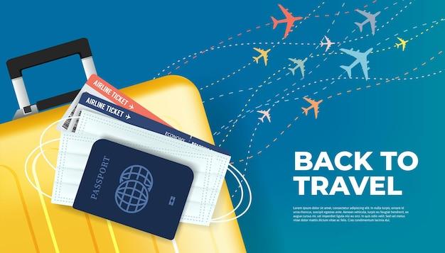 Подготовьте багаж, паспорт, билет и маску к возвращению в путешествие. готовы путешествовать, вернуться к концепции путешествия баннер.