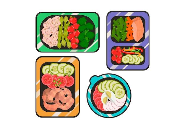 コンテナで準備された食事フラットスタイルの健康食品ベクトルイラストの毎日の食事