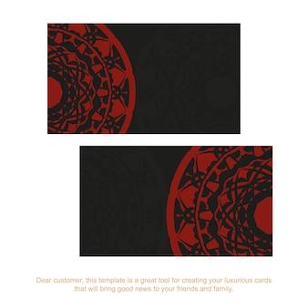 Готовим визитку с местом для текста и старинных орнаментов. дизайн визитной карточки в черном цвете с красными узорами мандалы.