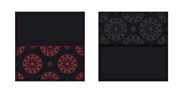 텍스트 및 패턴에 대 한 장소를 가진 초대 카드를 준비 합니다. 그리스 장신구와 검은 색 엽서의 인쇄 가능한 디자인을 위한 벡터 템플릿.