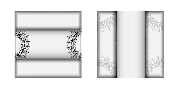 텍스트와 빈티지 패턴을 위한 장소가 있는 초대 카드를 준비합니다. 인쇄 디자인 엽서 서식 파일 만다라 장식으로 흰색 색상입니다.