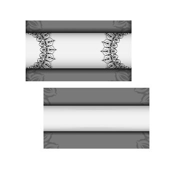 텍스트와 빈티지 패턴을 위한 장소가 있는 초대 카드를 준비합니다. 인쇄 디자인 엽서에 대 한 벡터 템플릿 만다라와 흰색 색상입니다.