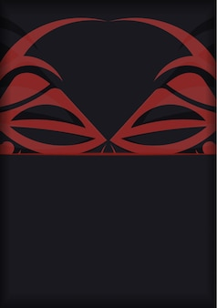 텍스트를 위한 장소와 폴리제니안 스타일 패턴의 얼굴로 초대장을 준비합니다. 신 패턴의 마스크가 있는 검은색 인쇄 디자인 엽서를 위한 고급스러운 벡터 템플릿입니다.