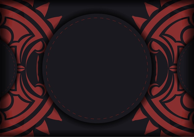 Готовим приглашение с местом для текста и лицом в полизенском стиле. шаблон для полиграфической открытки в черном цвете с маской богов.